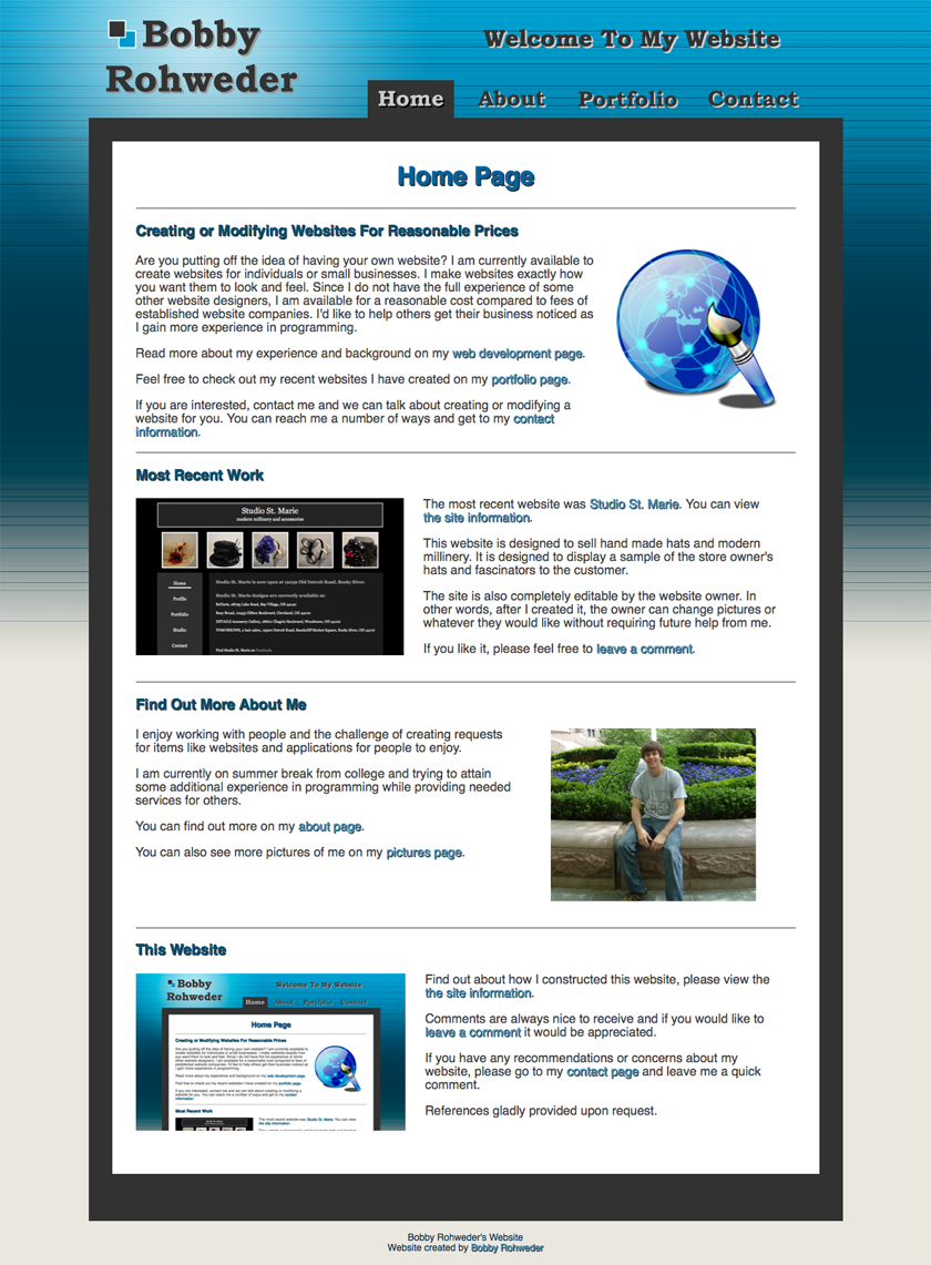 bobby rohweder s website role design layout creation functionality